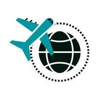 avião de viagens de férias de verão voando ao redor do mundo vetor