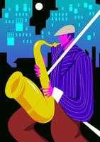 Tocando Saxofone vetor