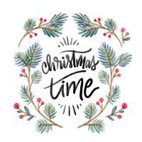 Folhas de Natal bonito com citação