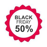 sexta-feira negra inscrição de venda metade do desconto ícone do modelo de design estilo simples vetor