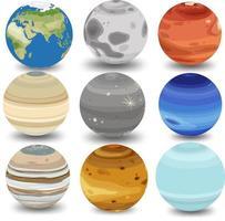 conjunto de diferentes planetas isolados no fundo branco vetor