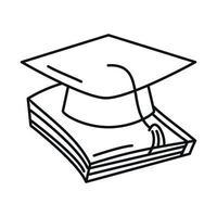 chapéu de formatura de volta às aulas no livro estilo de ícone de linha de ensino fundamental vetor