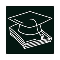 chapéu de formatura de volta às aulas no ícone de bloco e linha de ensino fundamental vetor