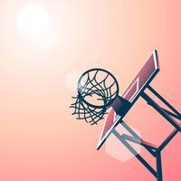 Ângulo de fundo do anel de basquete vetor