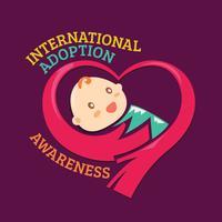 Mãos abraçam o bebê para conscientização internacional sobre adoção vetor