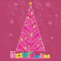 Belo estilo escandinavo meados do século Pine Tree de Natal vetor