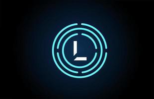 l design de ícone de letra branca com círculos azuis. design de logotipo do alfabeto. branding para produtos e empresa vetor