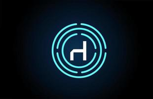 h design de ícone de letra branca com círculos azuis. design de logotipo do alfabeto. branding para produtos e empresa vetor