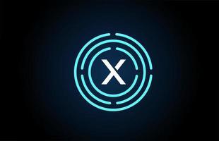 x design de ícone de letra branca com círculos azuis. design de logotipo do alfabeto. branding para produtos e empresa vetor