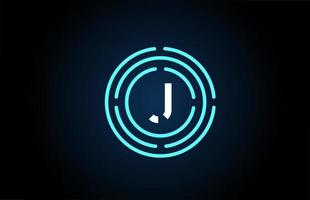 j design de ícone de letra branca com círculos azuis. design de logotipo do alfabeto. branding para produtos e empresa vetor