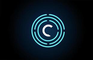 c design de ícone de letra branca com círculos azuis. design de logotipo do alfabeto. branding para produtos e empresa vetor