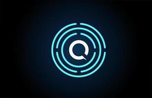 q desenho de um ícone de letra branca com círculos azuis. design de logotipo do alfabeto. branding para produtos e empresa vetor