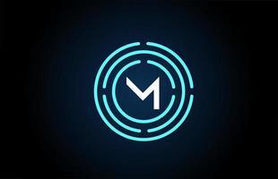 m design de ícone de letra branca com círculos azuis. design de logotipo do alfabeto. branding para produtos e empresa vetor