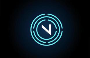 n design de ícone de letra branca com círculos azuis. design de logotipo do alfabeto. branding para produtos e empresa vetor