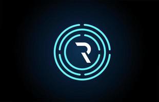 r design de ícone de letra branca com círculos azuis. design de logotipo do alfabeto. branding para produtos e empresa vetor