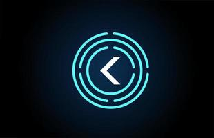 k design de ícone de letra branca com círculos azuis. design de logotipo do alfabeto. branding para produtos e empresa vetor