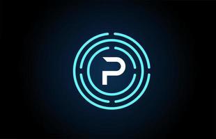 p design de ícone de letra branca com círculos azuis. design de logotipo do alfabeto. branding para produtos e empresa vetor