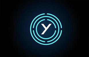 y design de ícone de letra branca com círculos azuis. design de logotipo do alfabeto. branding para produtos e empresa vetor