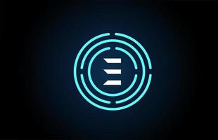 e design de ícone de letra branca com círculos azuis. design de logotipo do alfabeto. branding para produtos e empresa vetor