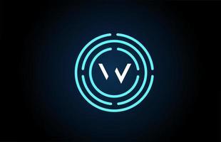 w design de ícone de letra branca com círculos azuis. design de logotipo do alfabeto. branding para produtos e empresa vetor