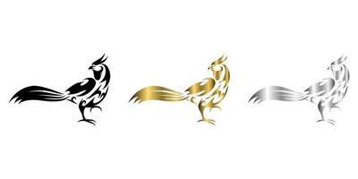 ilustração em vetor arte linha três cores preto ouro prata de faisão que está caminhando