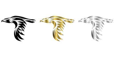três cores preto ouro prata linha arte ilustrador vetorial de águia que está voando vetor