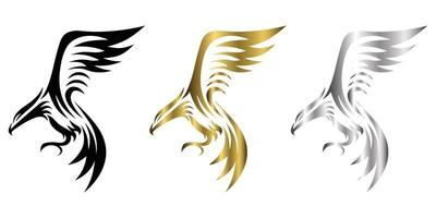 três cores preto ouro prata linha arte logotipo de vetor de águia que está voando