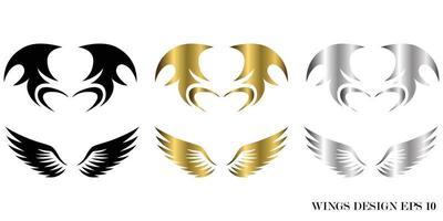 ilustração vetorial de design de logotipo de asa animal de três cores preto ouro prata adequado para marca ou símbolo vetor