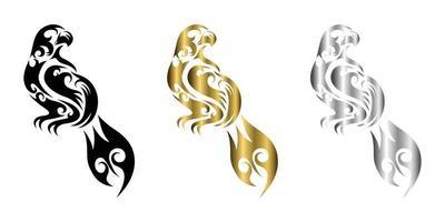 três cores preto ouro prata linha arte vetorial de águia pendurada em um galho vetor