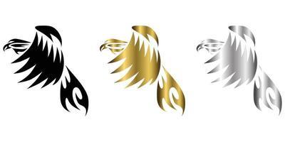 símbolo de vetor de três cores preto ouro prata da águia que está voando