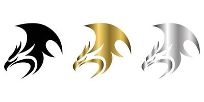 logotipo de vetor de três cores preto ouro prata de fênix mostra poder e força