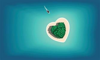 ilha paradisíaca em forma de coração vetor