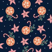 feliz ano novo e feliz natal ilustração de inverno padrão sem costura com pirulito poinsétia flores e folhas de natal flocos de neve colorido elemento de design colorido brilhante para embalagem cartões postais banners tecidos de malha vetor