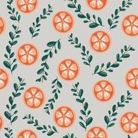 feliz ano novo e feliz natal ilustração de inverno padrão sem emenda com flores e folhas de natal tangerina Elemento de design colorido brilhante para cartões de embalagem banners tecidos de malhas vetor