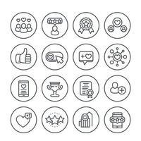 curtidas, seguidores, corações, classificação, ícones de linha de feedback definidos em branco vetor
