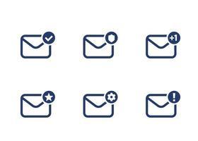 e-mail, caixa de entrada, ícones de e-mail em branco, conjunto de vetores