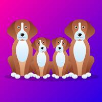 Família de cão bonito Cartoon ilustração vetor
