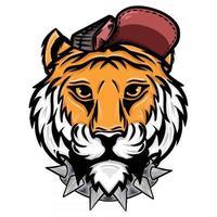 ilustração do desenho à mão de uma cabeça de tigre usando um chapéu e um colar de espinhos vetor