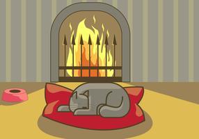 Fireside Animais De Estimação Ilustração Vetorial vetor