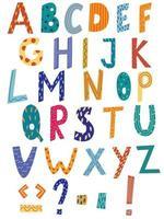 alfabeto latino em estilo cartoon. mão desenhar alfabeto com estilo listra e bolinhas. alfabeto inglês colorido fofo, tipo de letra desenhada de mão engraçada. bom para cartões, cartazes, designs de berçário. vetor