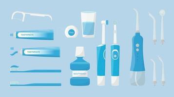 conjunto de ferramentas de limpeza bucal e dentária escova de dentes escova de dentes elétrica irrigador portátil e pasta de dente enxaguatório bucal fio dental higiene dental isolada vetor