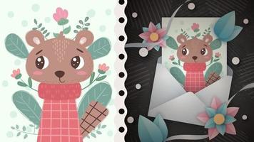 ideia de animal urso roedor para cartão comemorativo vetor