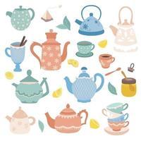 coleção de elementos da hora do chá vetor ícones do chá bules xícaras cupcakes e doces mel limão isolado em elementos de design de fundo branco