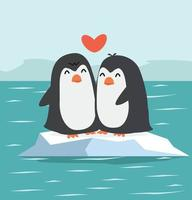 casal de pinguins fofos com pólo norte ártico vetor