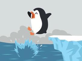 pinguim fofo pulando no oceano vetor