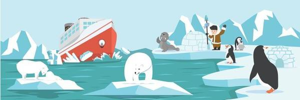 desenho animado da paisagem do pólo norte ártico vetor