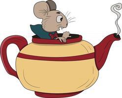 rato em um bule de chá Alice no país das maravilhas perfeito para projeto de design vetor