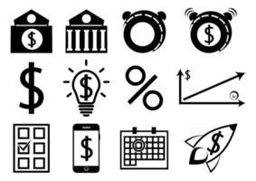 um conjunto de ícones de negócios e finanças. ícones de depósito vetor