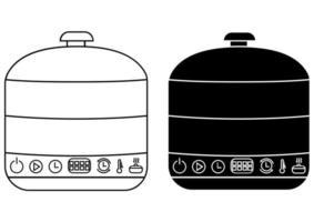 ícones de vaporizador de comida no estilo de contorno e glifo. vaporizador elétrico original ou banho-maria. vetor