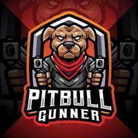 logotipo do mascote pitbull gunner esport vetor